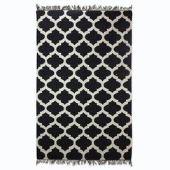 Hand-Woven Black/White Area Rug