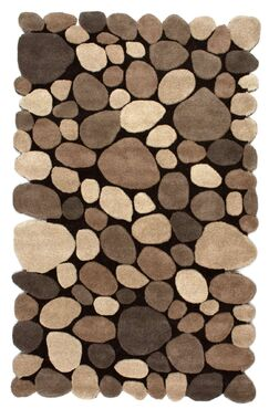 Alpert Pebbles Hand-Tufted Dark Brown Area Rug Rug Size: Rectangle 3'6