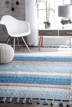 Velasco Handmade Indoor/Outdoor Light Blue Area Rug Rug Size: Rectangle 7'6