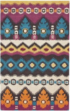 Courtney Moderne Ikat Hand-Tufted Wool Blue/Red Area Rug Rug Size: Rectangle 7'6