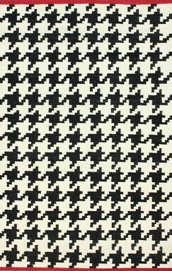 Moderna Houndstooth Hand-Flat Woven Black Area Rug Rug Size: Rectangle 7'6