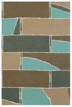 Modern Blue/Brown Area Rug Rug Size: 8' x 11'