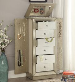 Streeter Jewelry Armoire with Mirror Color: Gold