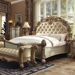 Welles Upholstered Panel Bed Size: California King, Color: Bone/Gold Patina