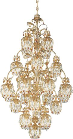 Rondelle 25-Light Shaded Chandelier Finish / Crystal Color: Antique Silver / Topaz
