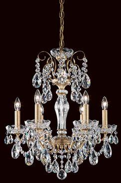 Sonatina 6-Light Chandelier Crystal Type: Swarovski Elements Clear, Finish: Black Pearl