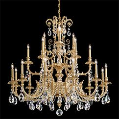 Genzano 21-Light Chandelier Crystal Type: Rock Clear, Finish: Parchment Gold