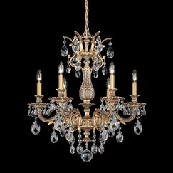 Milano 6-Light Chandelier Finish: Heirloom Bronze, Crystal Type: Optic Clear
