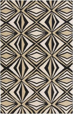 Voyages Black Geometric Area Rug Rug Size: Rectangle 8' x 11'