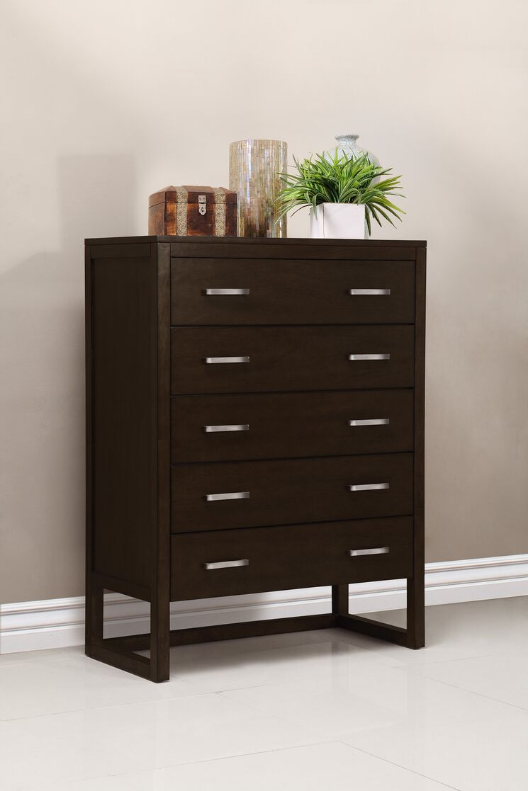 Brisbane 5 drawer chest dresser finish tobacco dmvt1025 for Bedroom furniture brisbane