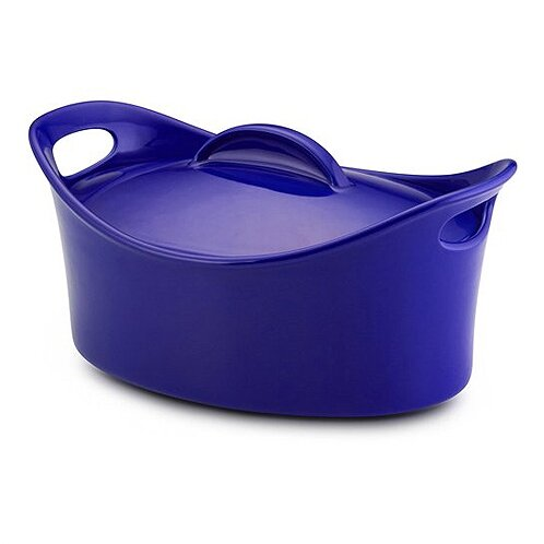 "Rachael Ray 55246 - ""Bubble & Brown"" 4.25-Qt. Stoneware Oval Casserole in Blue"