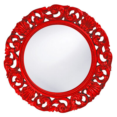 Howard Elliott 2170R - Glendale Round Wall Mirror in Red