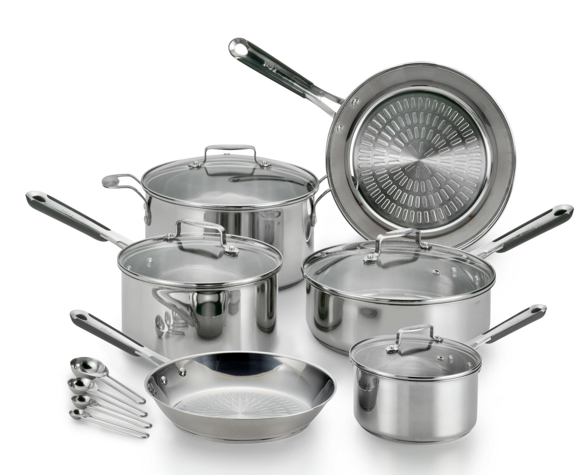 t fal performapro 14 piece stainless steel cookware set ebay. Black Bedroom Furniture Sets. Home Design Ideas