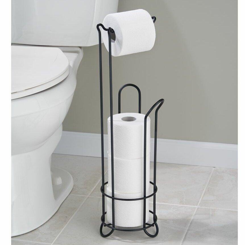 Interdesign classico free standing toilet paper holder matte black ebay - Interdesign toilet paper holder ...