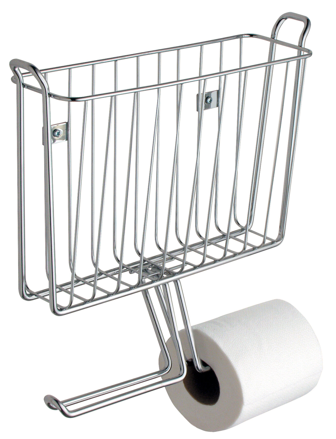 InterDesign Classico Wall Mounted Magazine Rack And Toilet Paper Holder