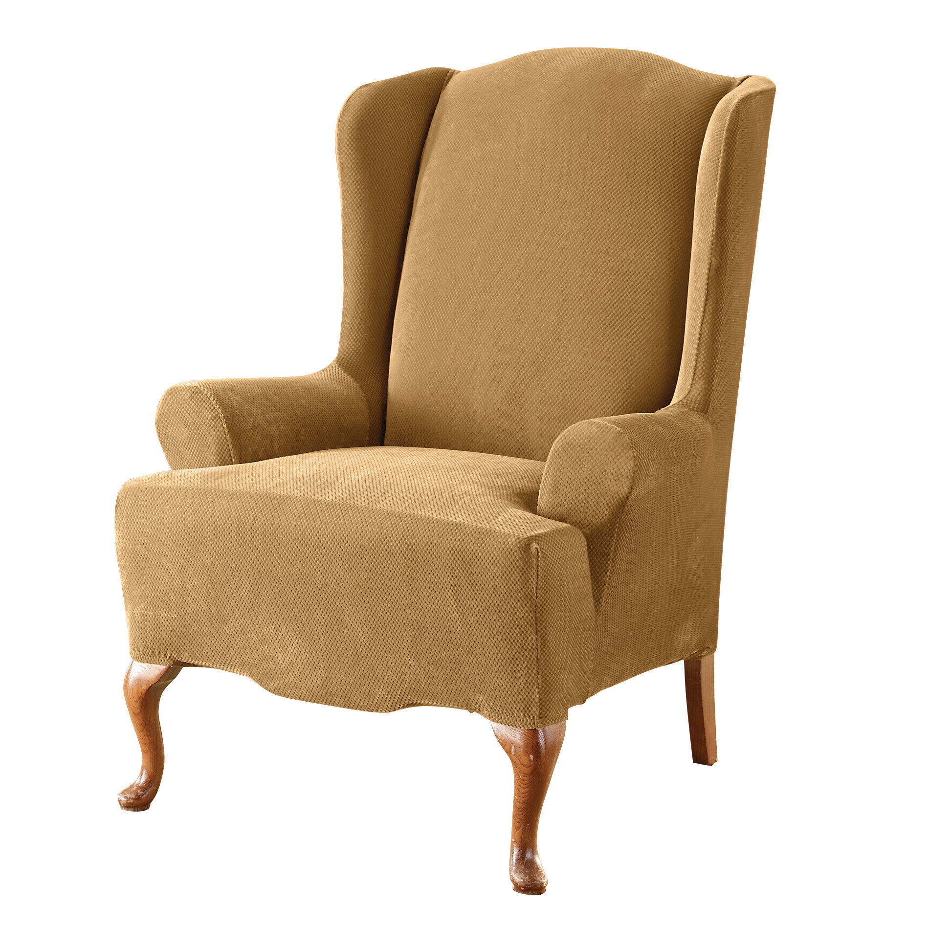 sure fit stretch pique wing chair slipcover ebay