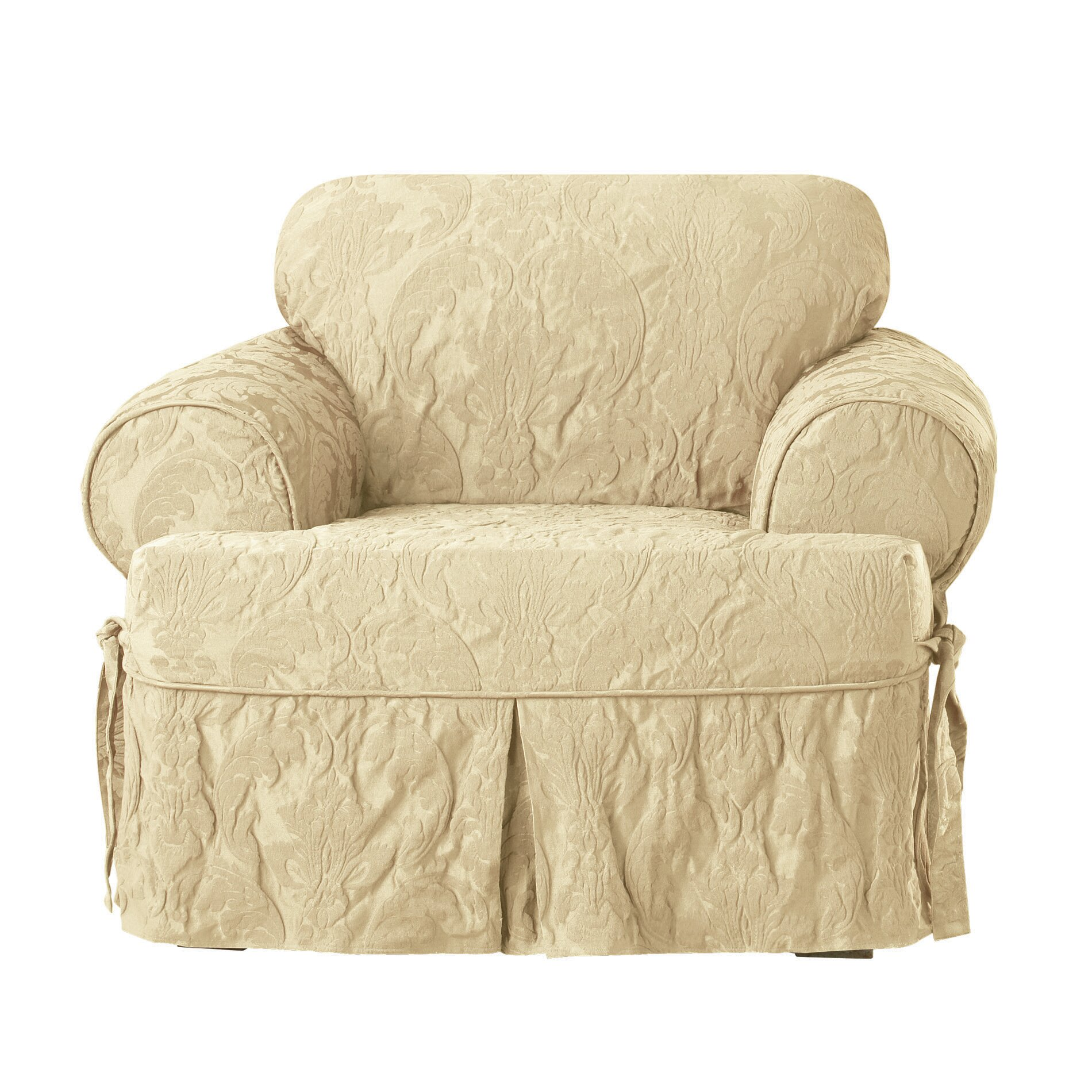 Sure Fit Matelasse Damask Chair T Cushion Slipcover Ebay