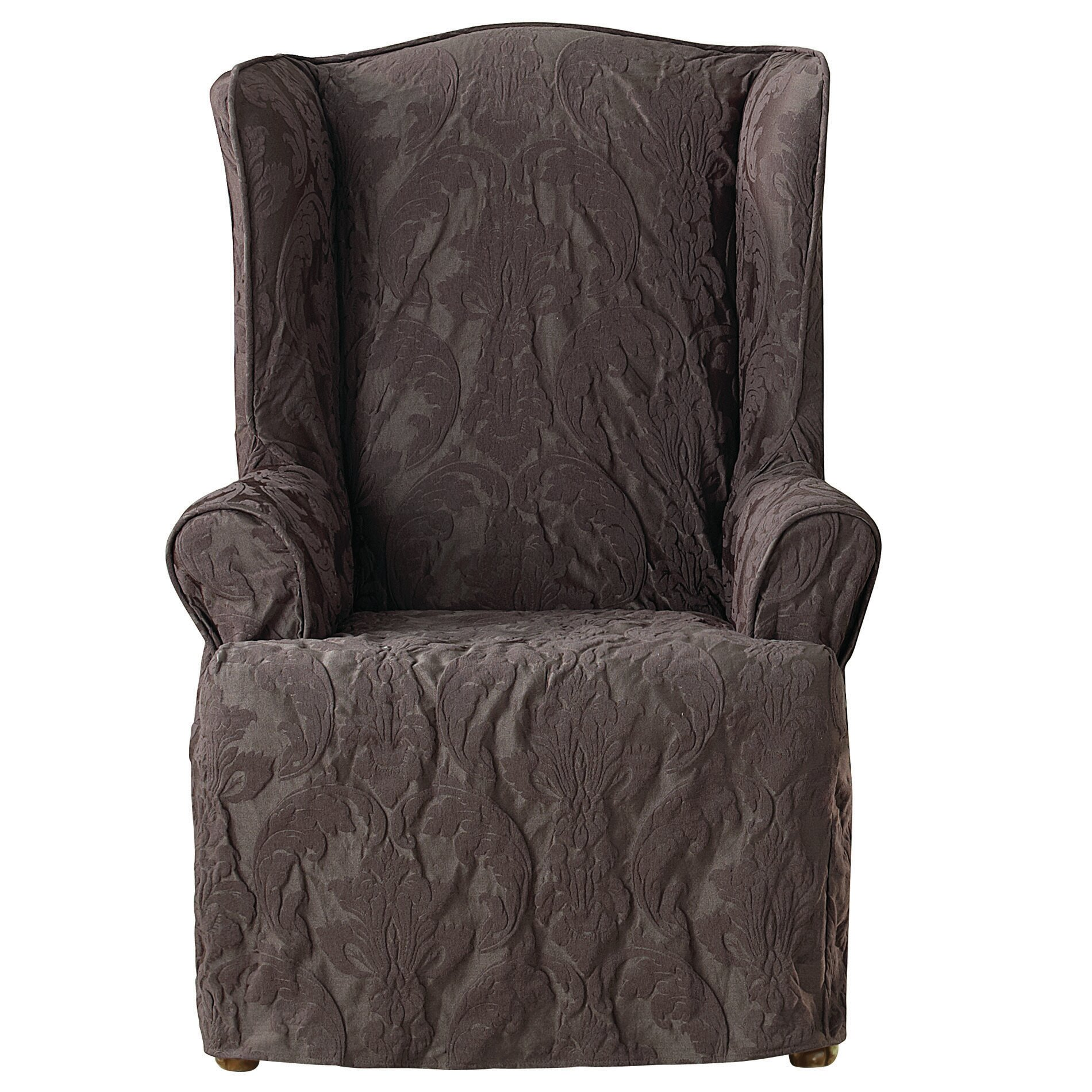 sure fit matelasse damask wing chair slipcover ebay
