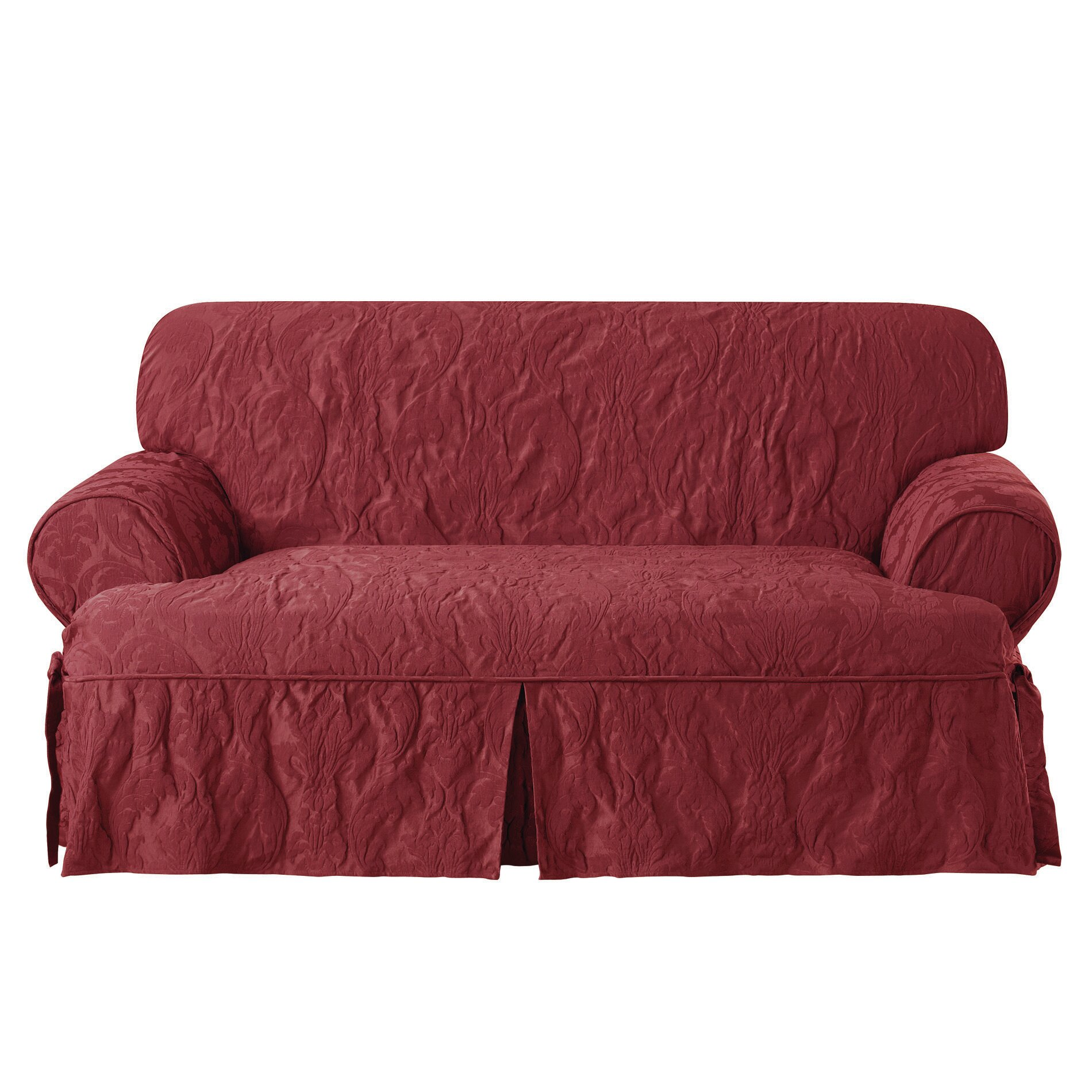 Sure fit matelasse damask loveseat t cushion slipcover Loveseat t cushion slipcovers