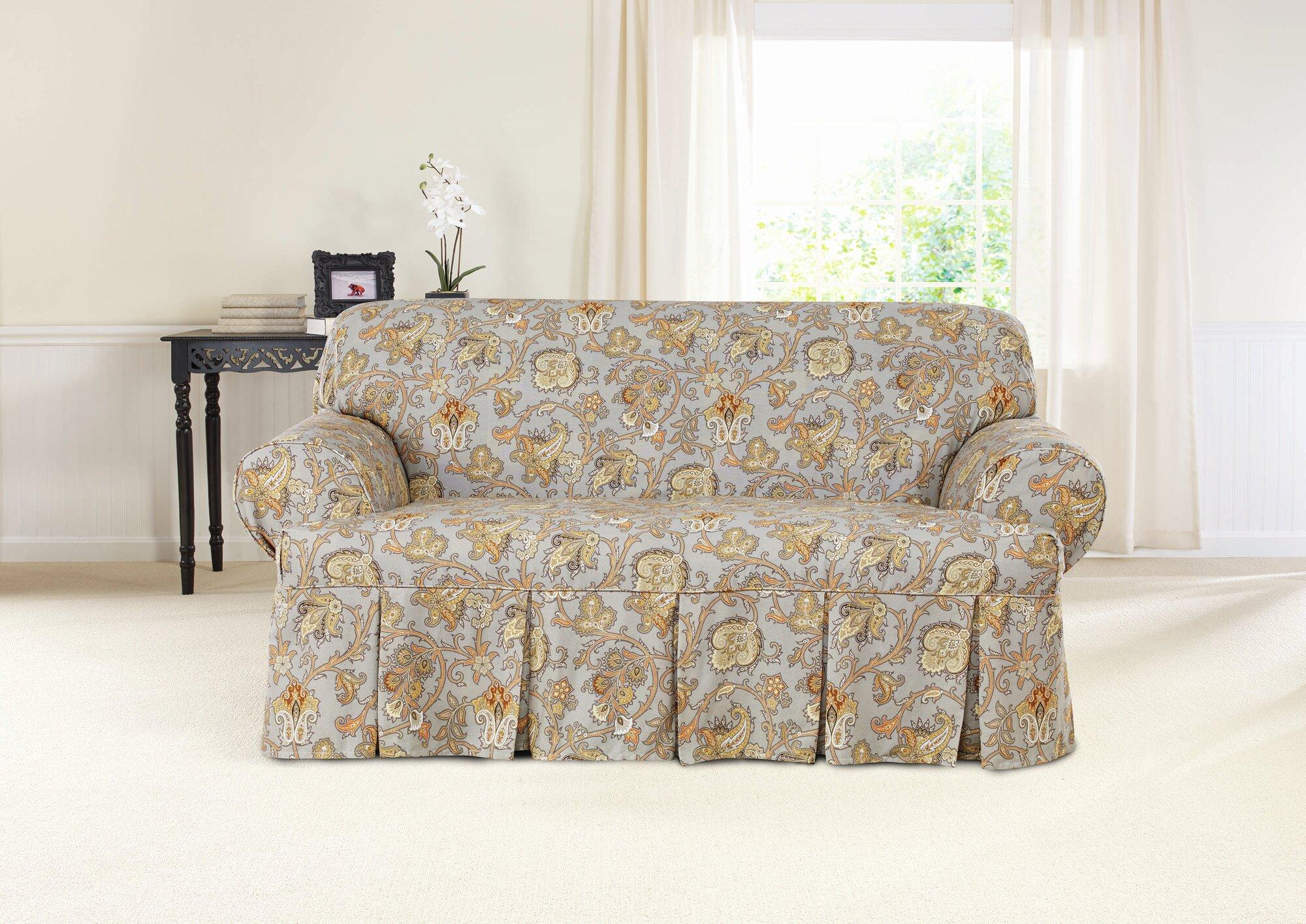 Sure Fit Tennyson Loveseat T Cushion Skirted Slipcover Ebay