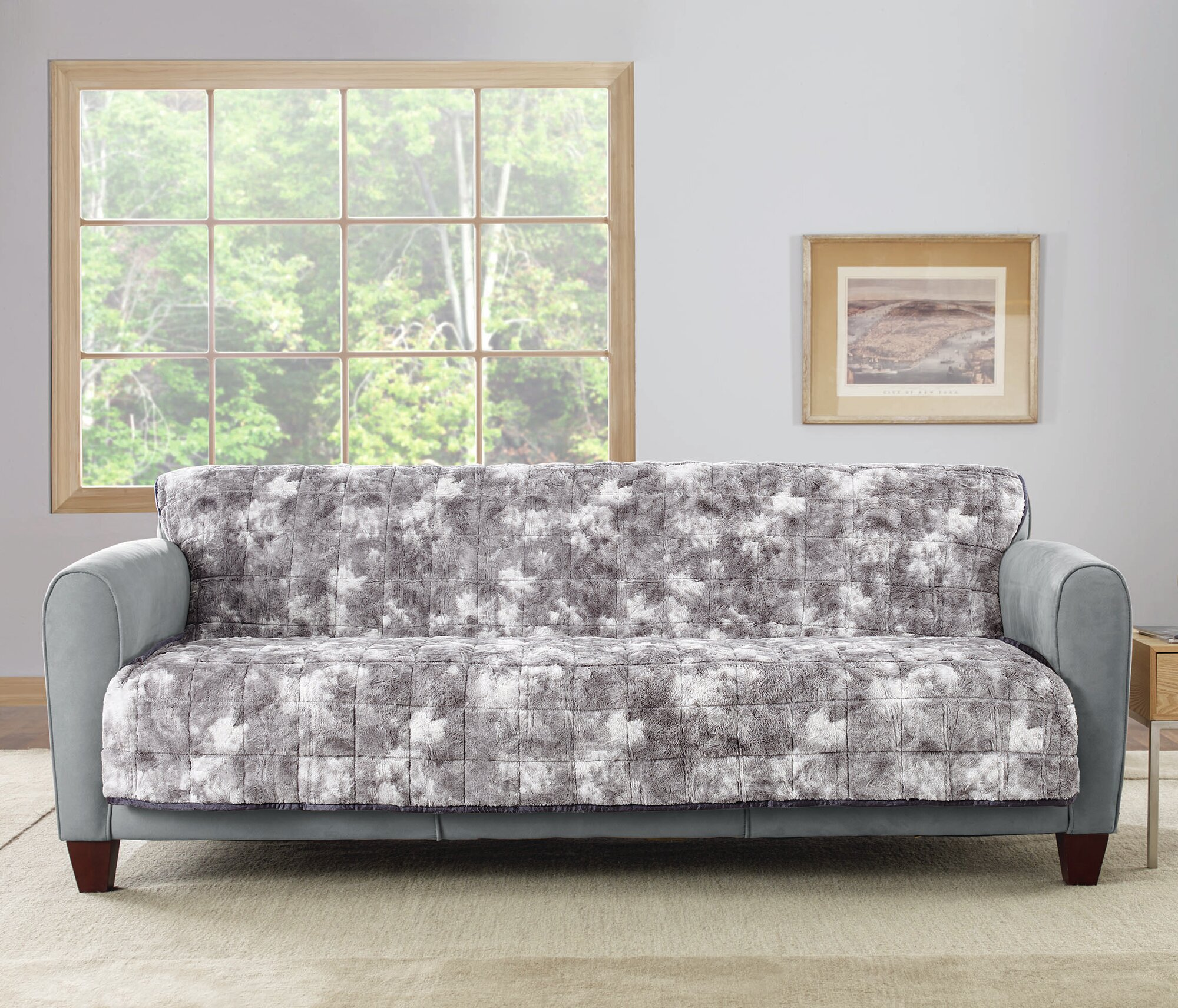Sure Fit Faux Fur Quilted Sofa Slipcover eBay : 1 from www.ebay.com size 2000 x 1712 jpeg 915kB