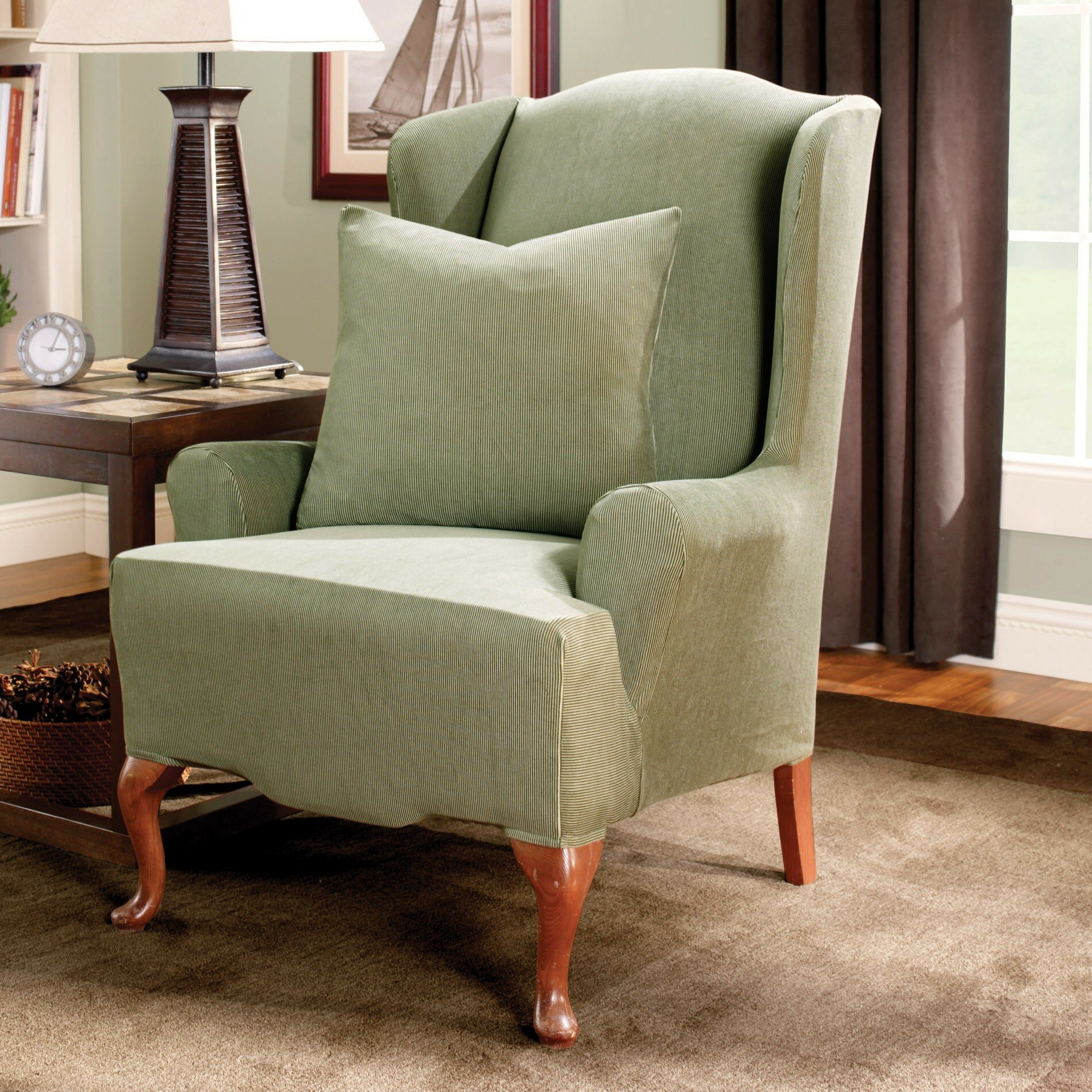 Sure Fit Stretch Stripe Wing Chair Slipcover EBay