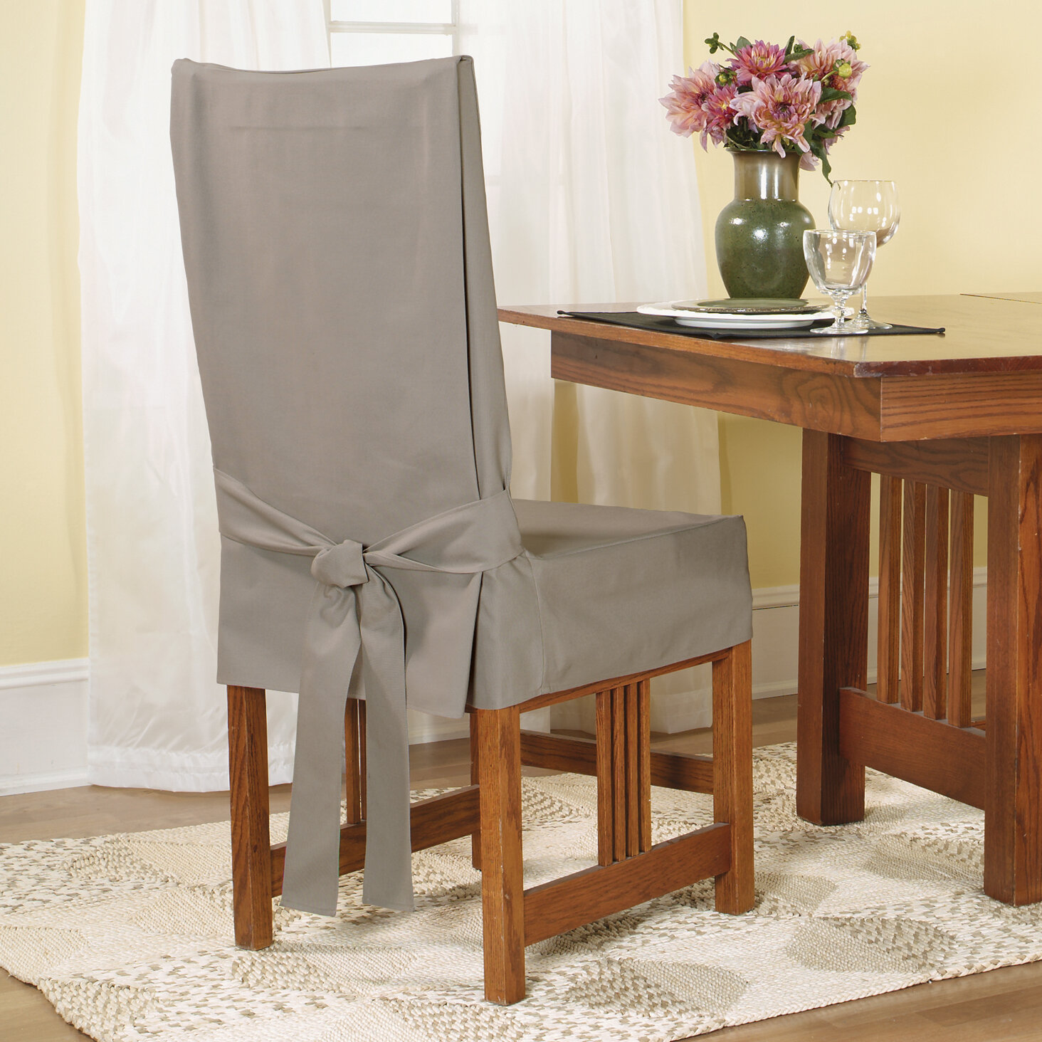 sure fit cotton duck shorty dining chair slipcover ebay