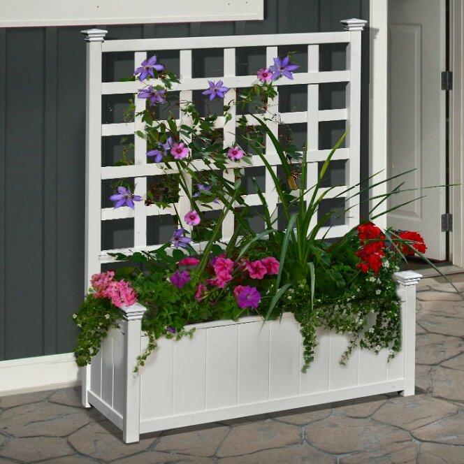 White Outdoor Patio 36 Deluxe Large Garden Planter Flower: New England Arbors Huron Plastic Planter Box With Trellis