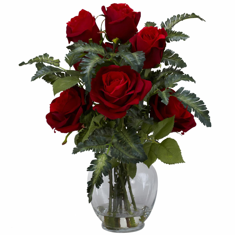 Nearly Natural Rose W Fern Silk Flower Arrangement