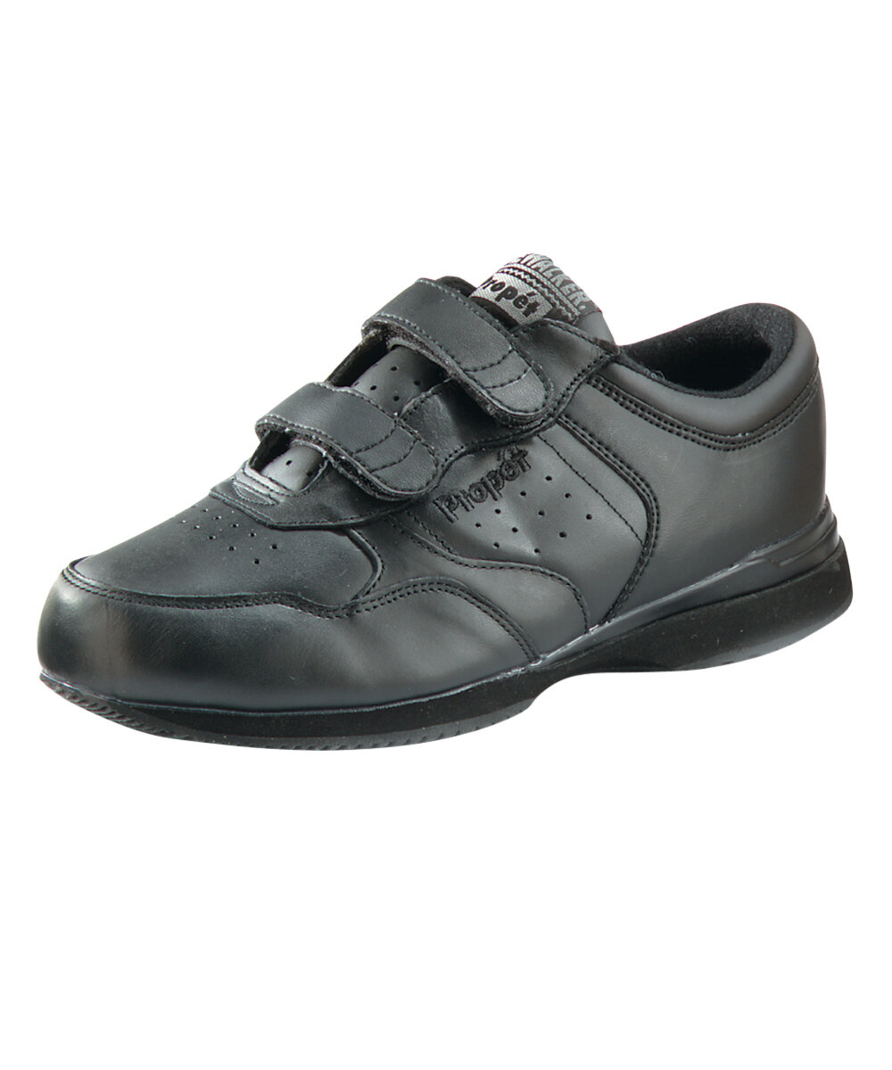 Silvert's Men's Wide Easy Touch Closure Shoe in Black