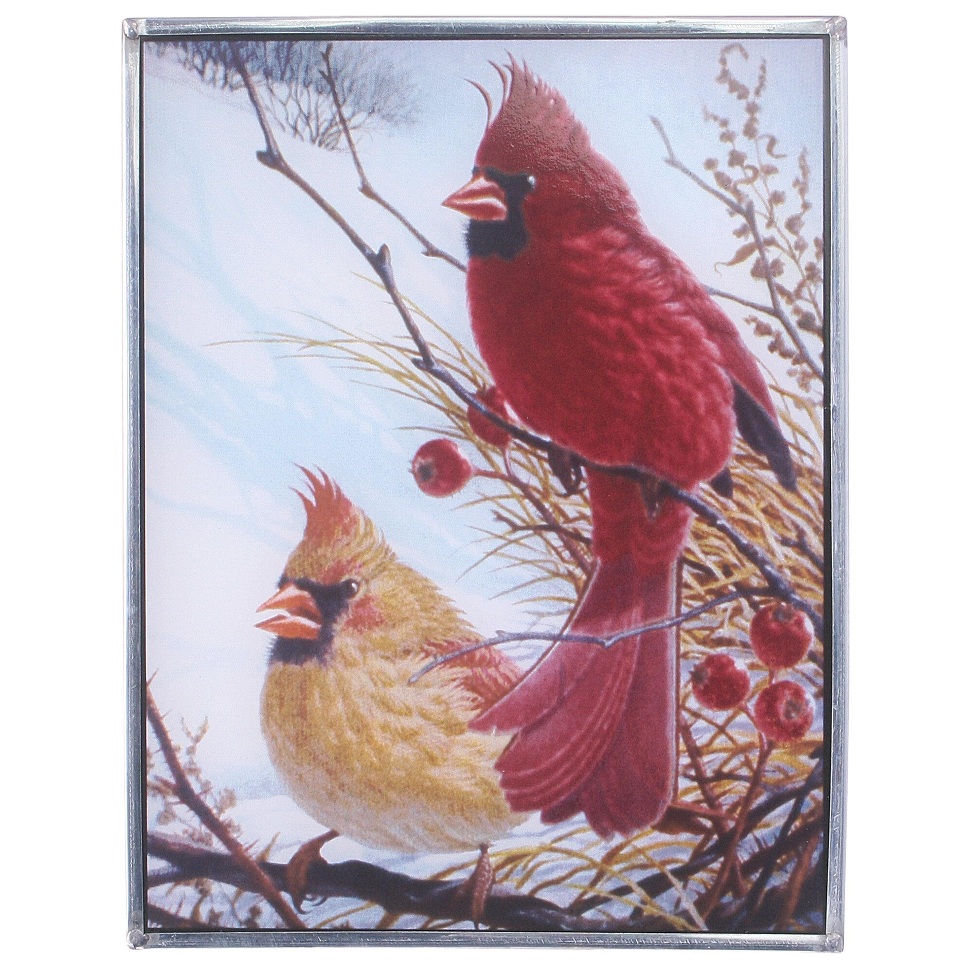 Design Toscano Windy Cardinal Birds Art Glass Wall D 233 Cor