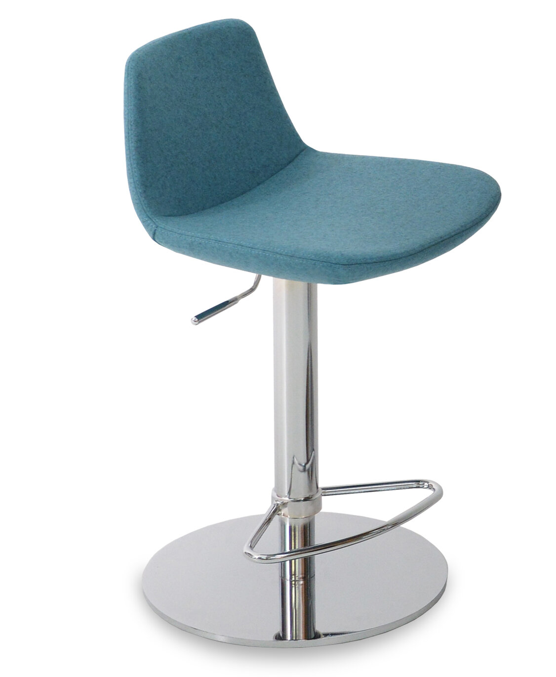 sohoConcept Pera Piston Adjustable Height Bar Stool Upholstery: Organic Wool Fabric, Finish: Chrome, Color: Charcoal
