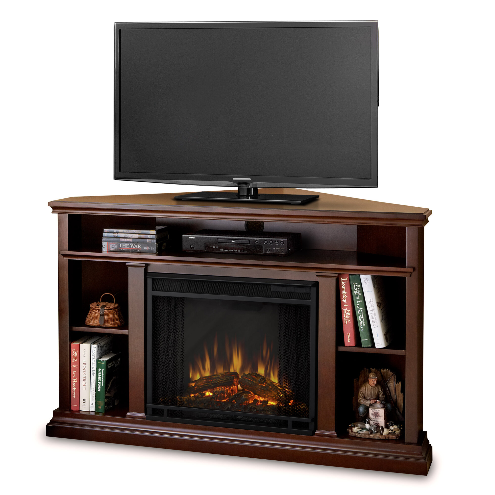 Real Flame Churchill TV Stand With Electric Fireplace EBay