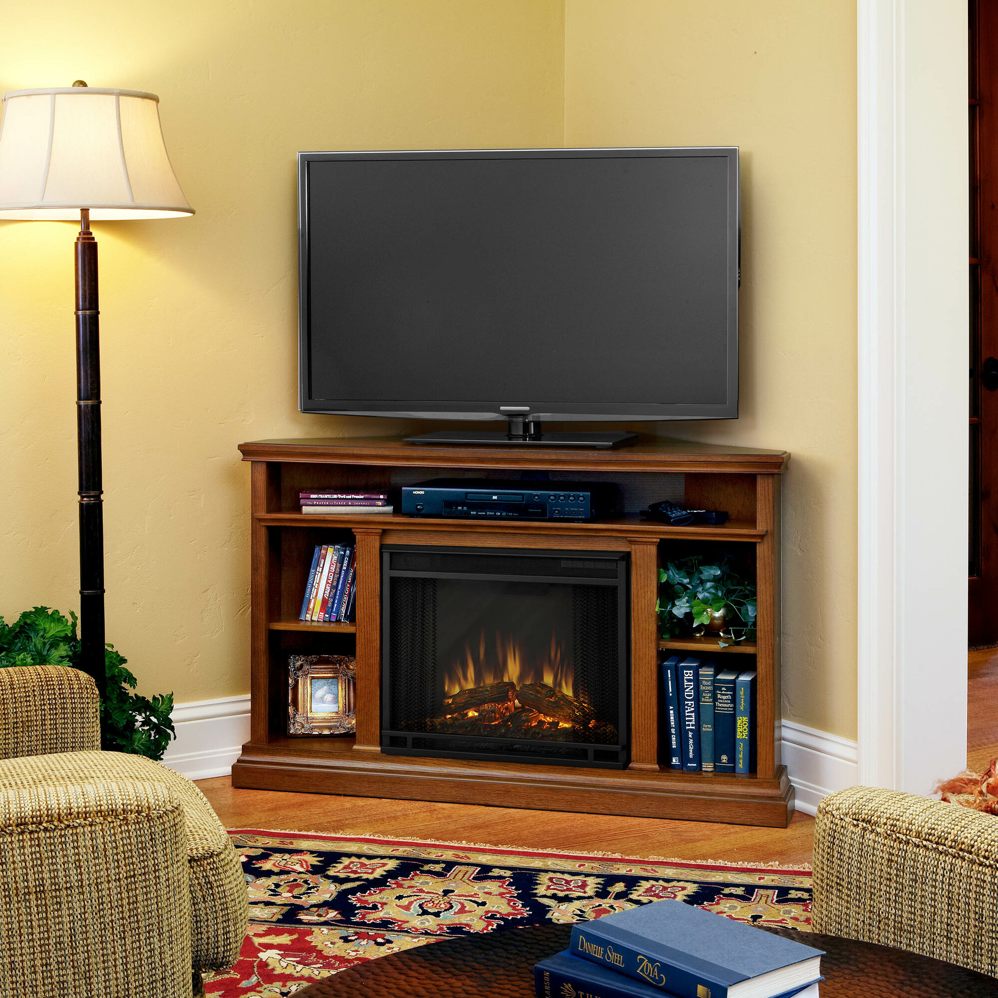 real flame churchill 51 tv stand with electric fireplace ebay. Black Bedroom Furniture Sets. Home Design Ideas
