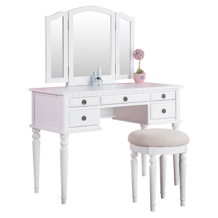 Poundex Bobkona Vanity Set With Mirror Ebay