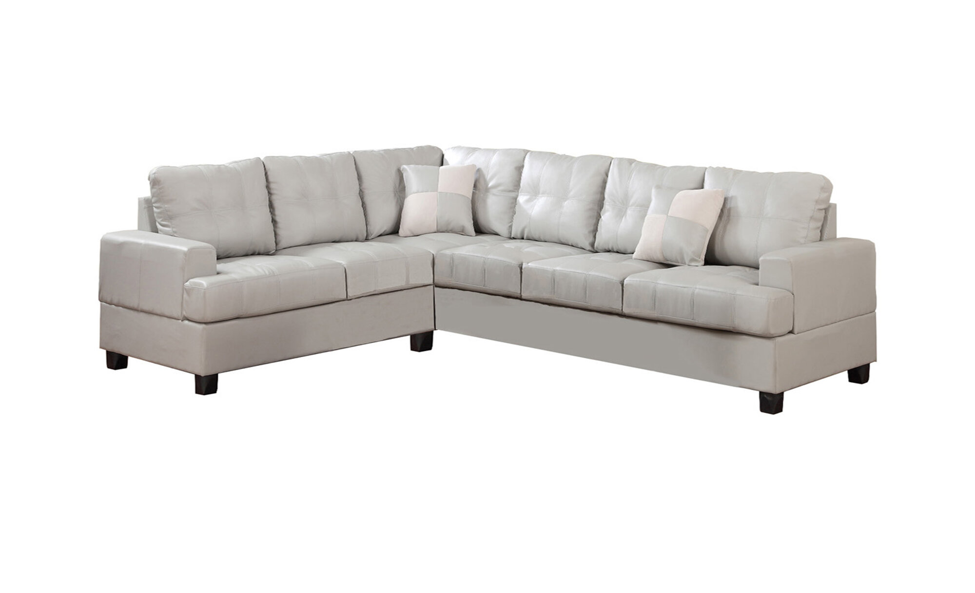 Poundex Bobkona Karen Bonded Leather Reversible Sectional
