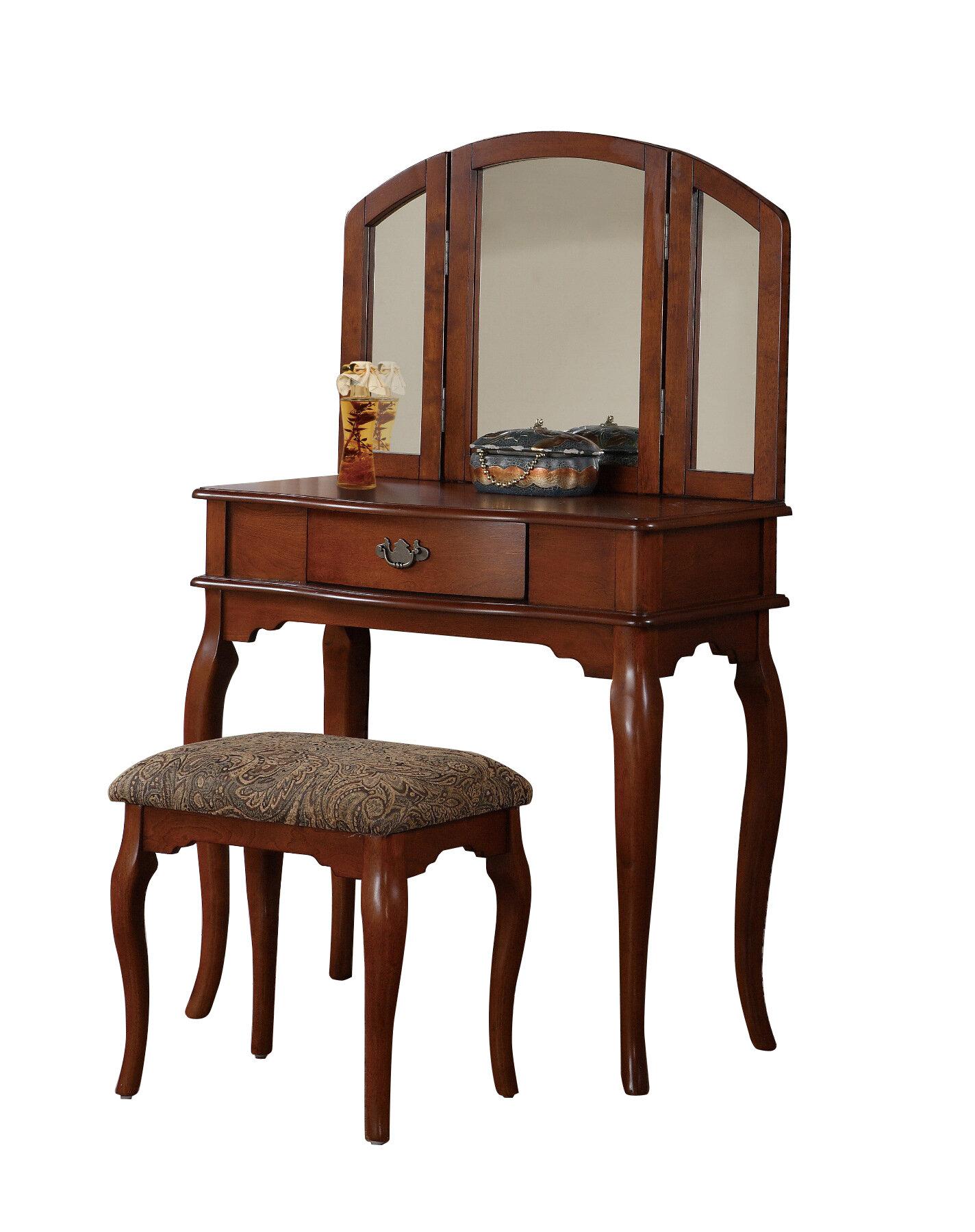 Poundex Bobkona Vanity Set With Mirror Ebay