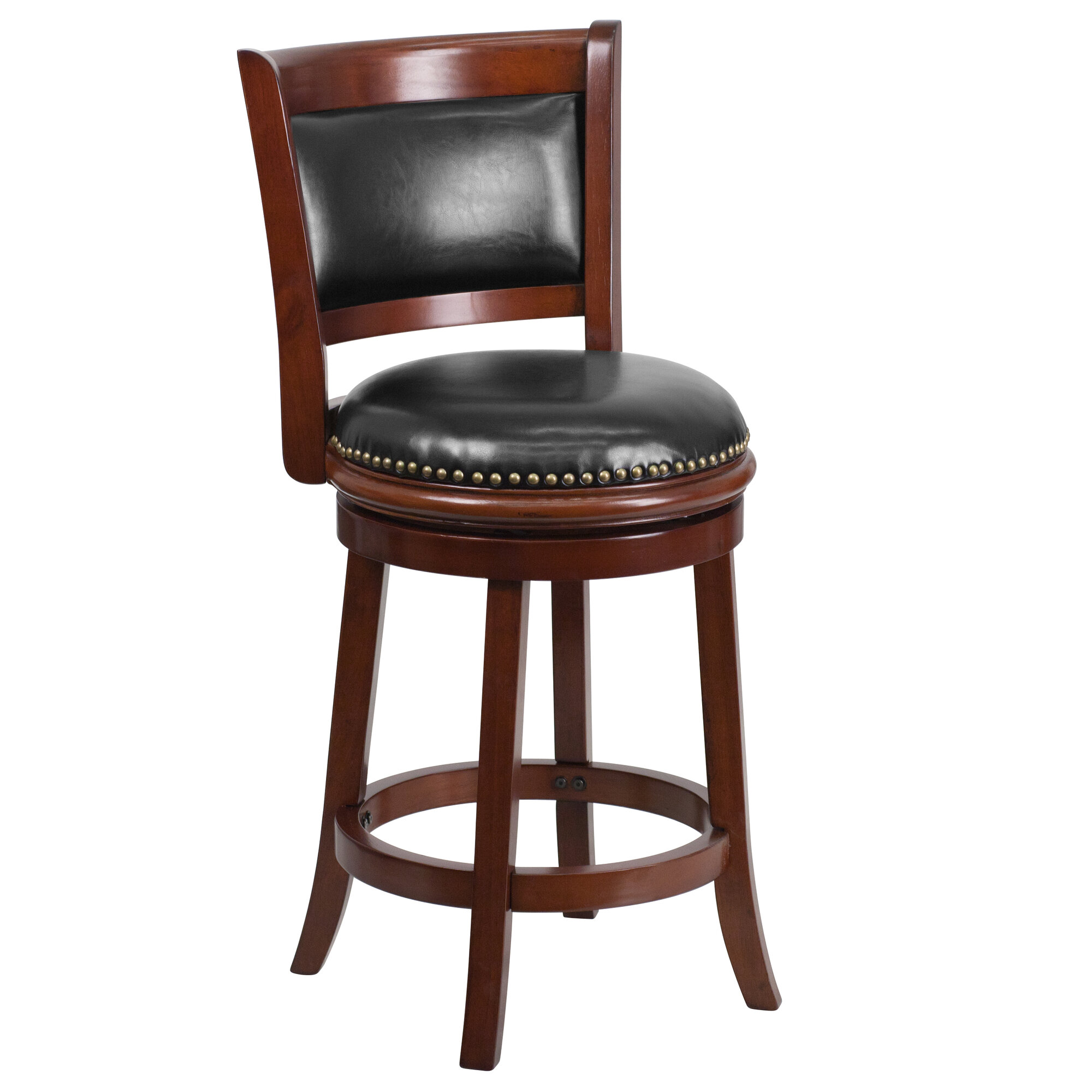 Flash furniture 24 39 39 wood counter stool with leather for Furniture 24