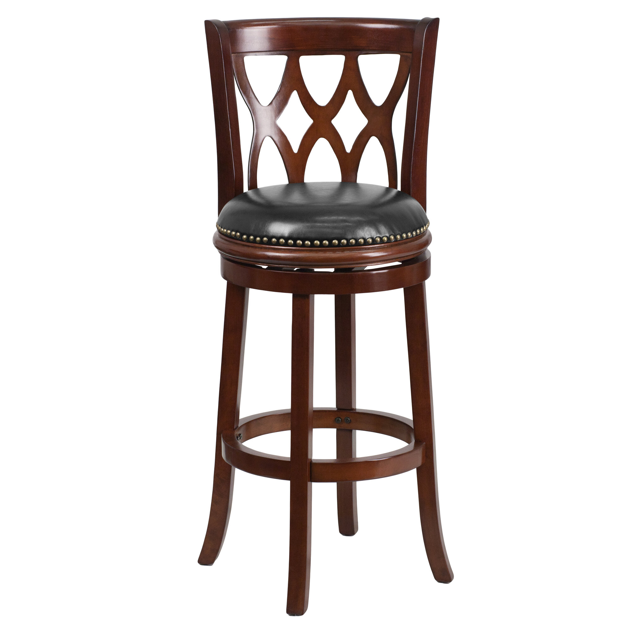 Superb img of about Flash Furniture 29'' Wood Bar Stool with Leather Swivel Seat with #41251C color and 2000x2000 pixels