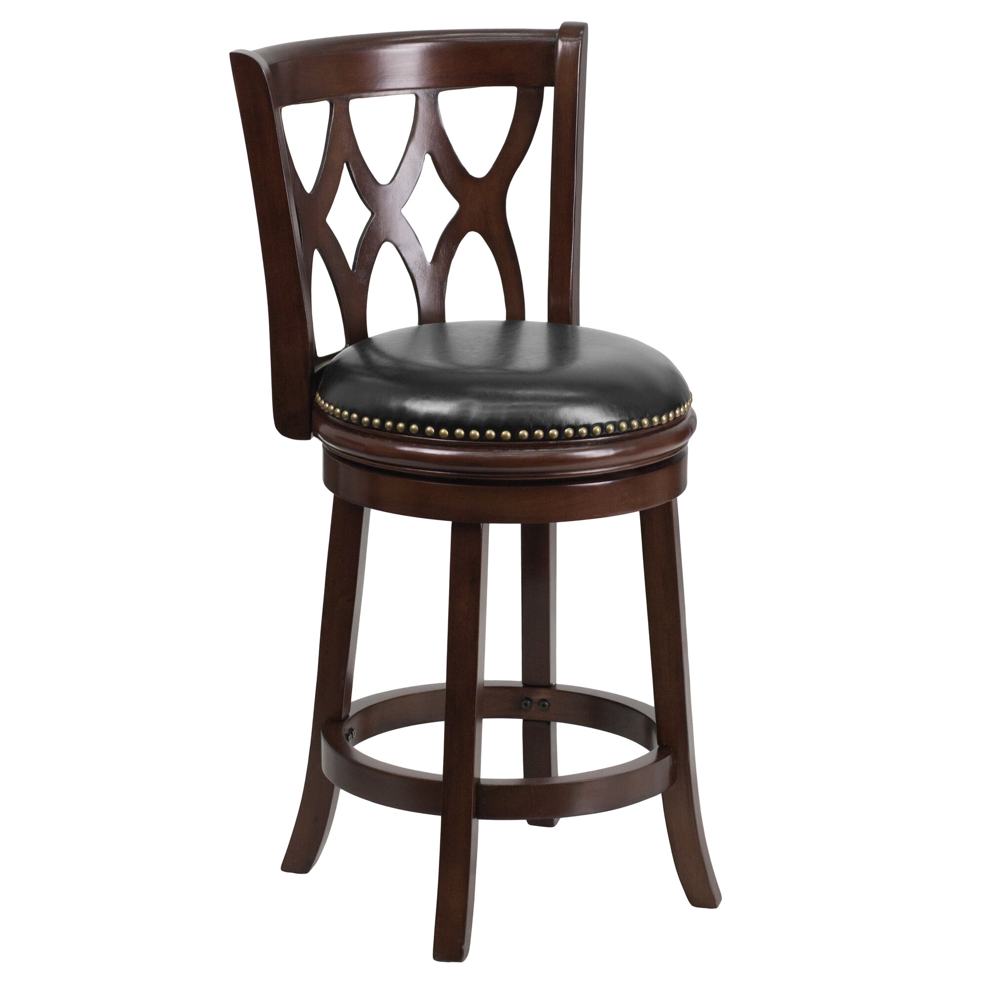Flash Furniture 24 Wood Counter Stool With Leather Swivel Seat