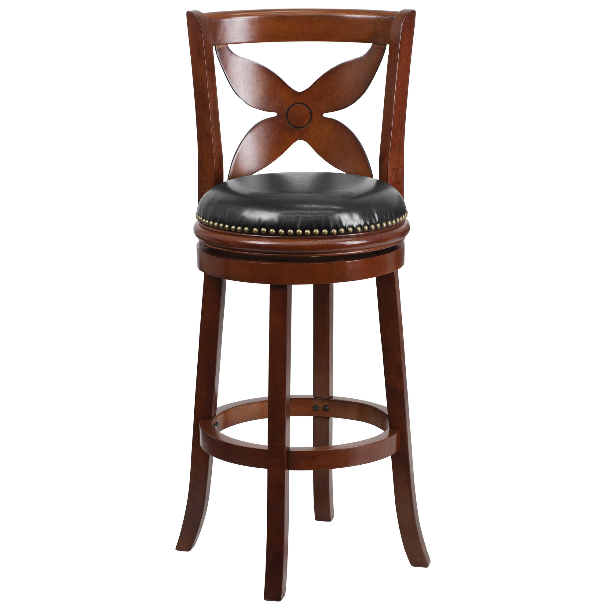 Very Impressive portraiture of  about Flash Furniture 29'' Wood Bar Stool with Leather Swivel Seat with #663826 color and 2000x2000 pixels