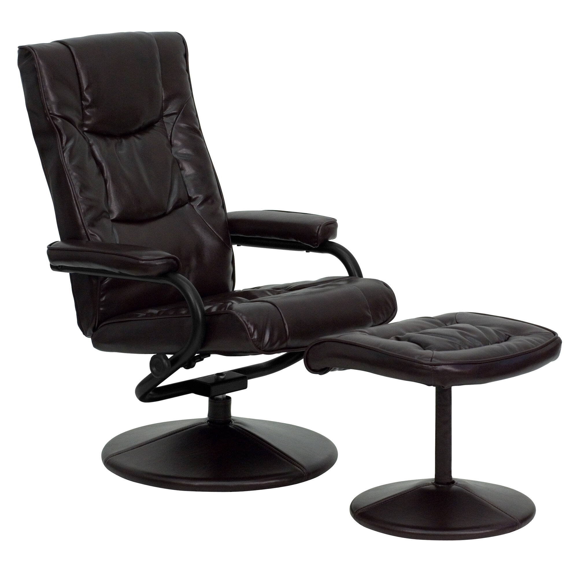 flash furniture contemporary soft leather reclining office chair and ottoman ebay. Black Bedroom Furniture Sets. Home Design Ideas