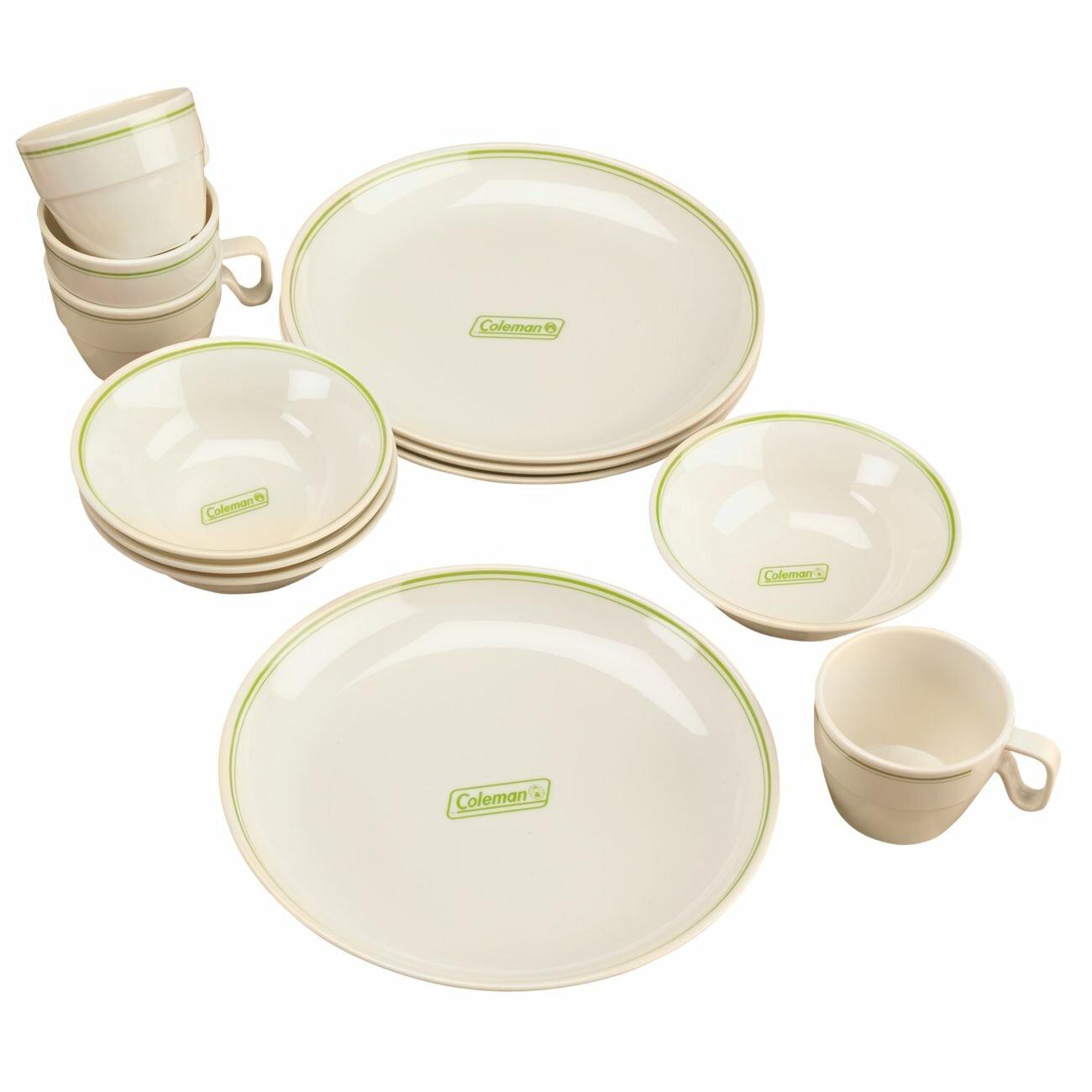 Coleman Melamine 12 Piece Dinnerware Set Ebay