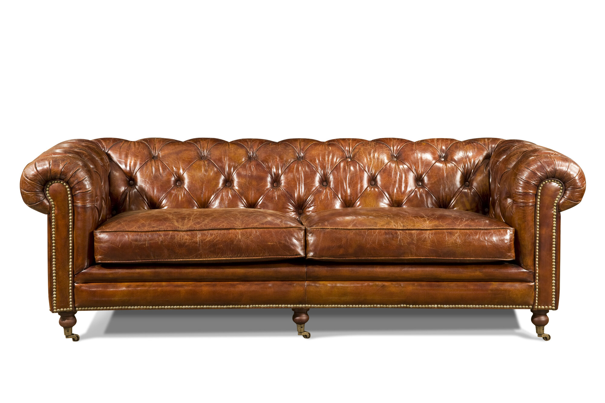 Moe 39 S Home Collection Birmingham Leather Chesterfield Sofa Ebay