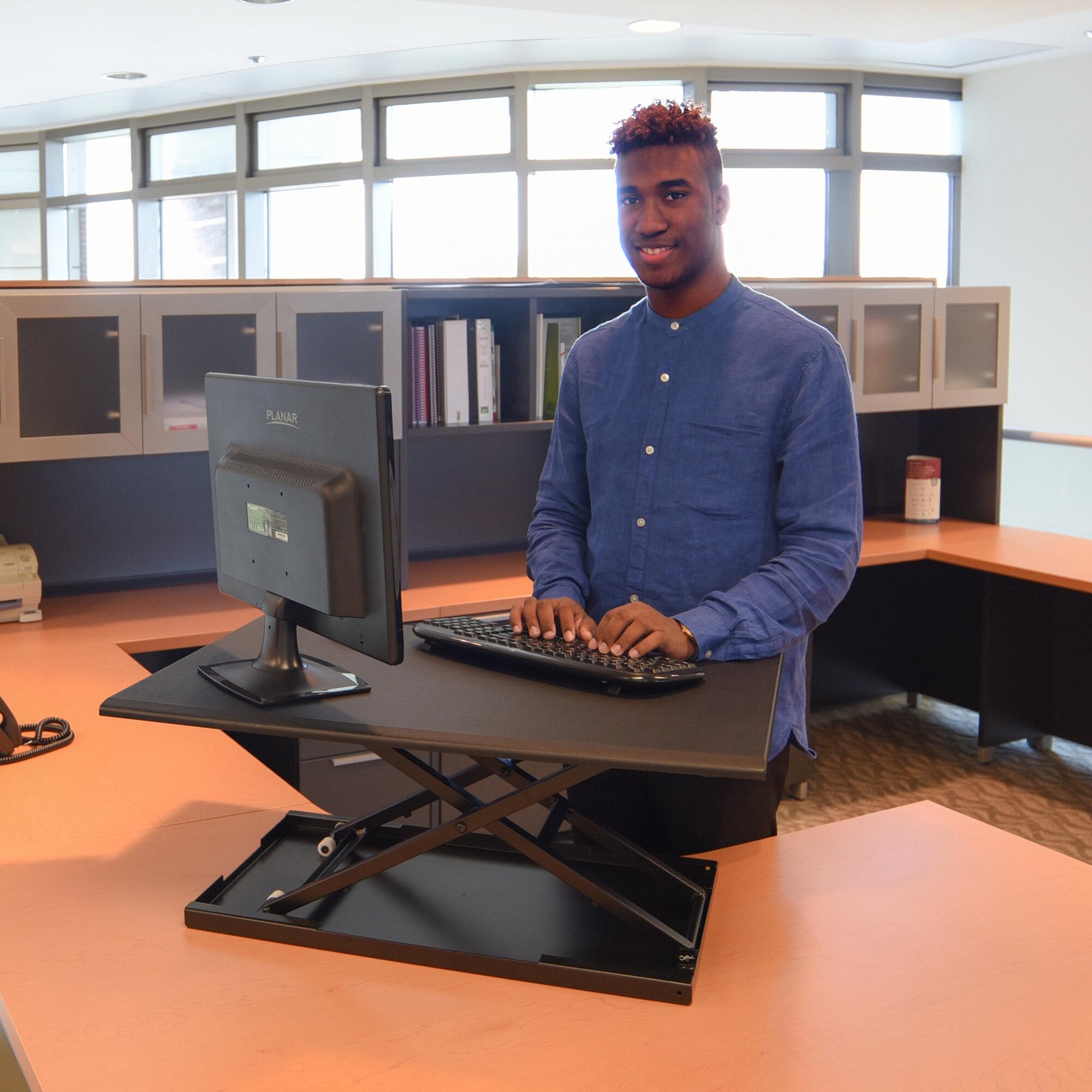 Luxor Pneumatic Adjustable Desktop Standing Desk Ebay