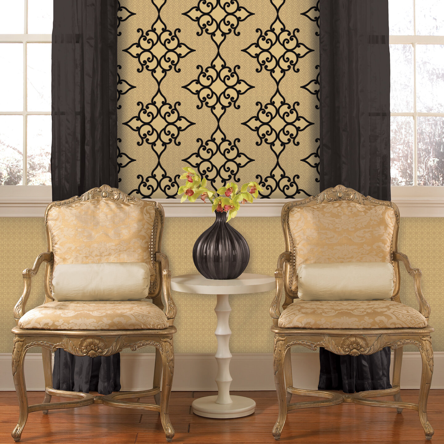 Brewster home fashions decadence sebastian crepe moroccan for Home wallpaper ebay