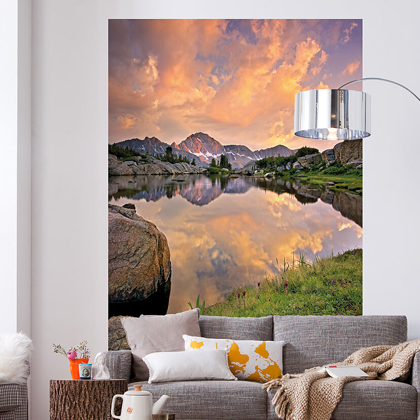 Brewster home fashions komar alpengluhen wall mural ebay for Brewster birch wall mural