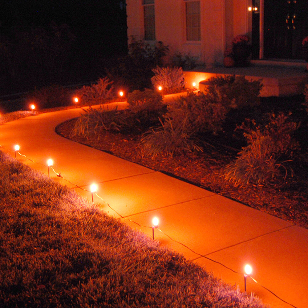 Luminarias 10 count electric pathway lights ebay for Outdoor electric yard lights