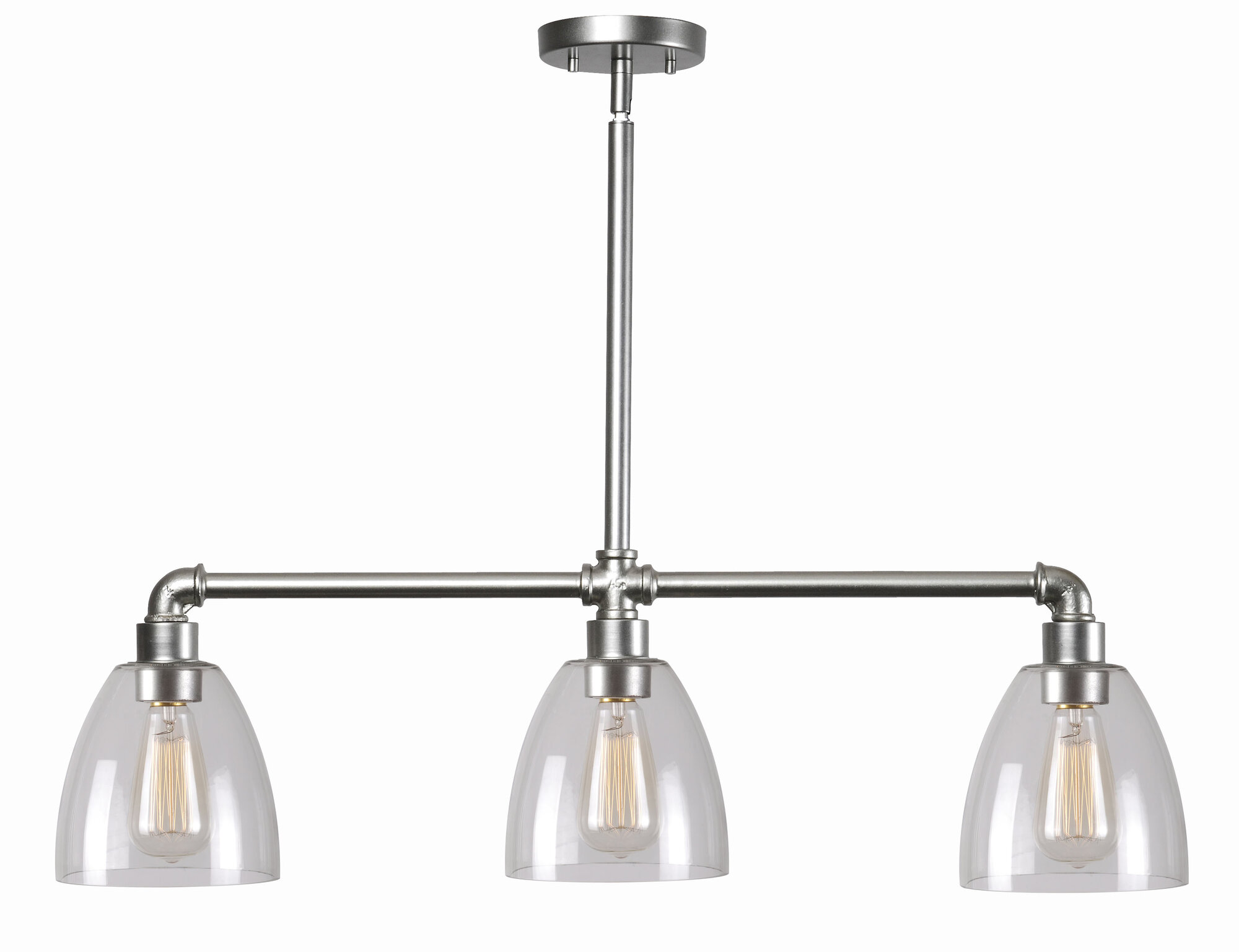 Wildon home industrial fitter 3 light kitchen island for Kitchen pendant lighting island