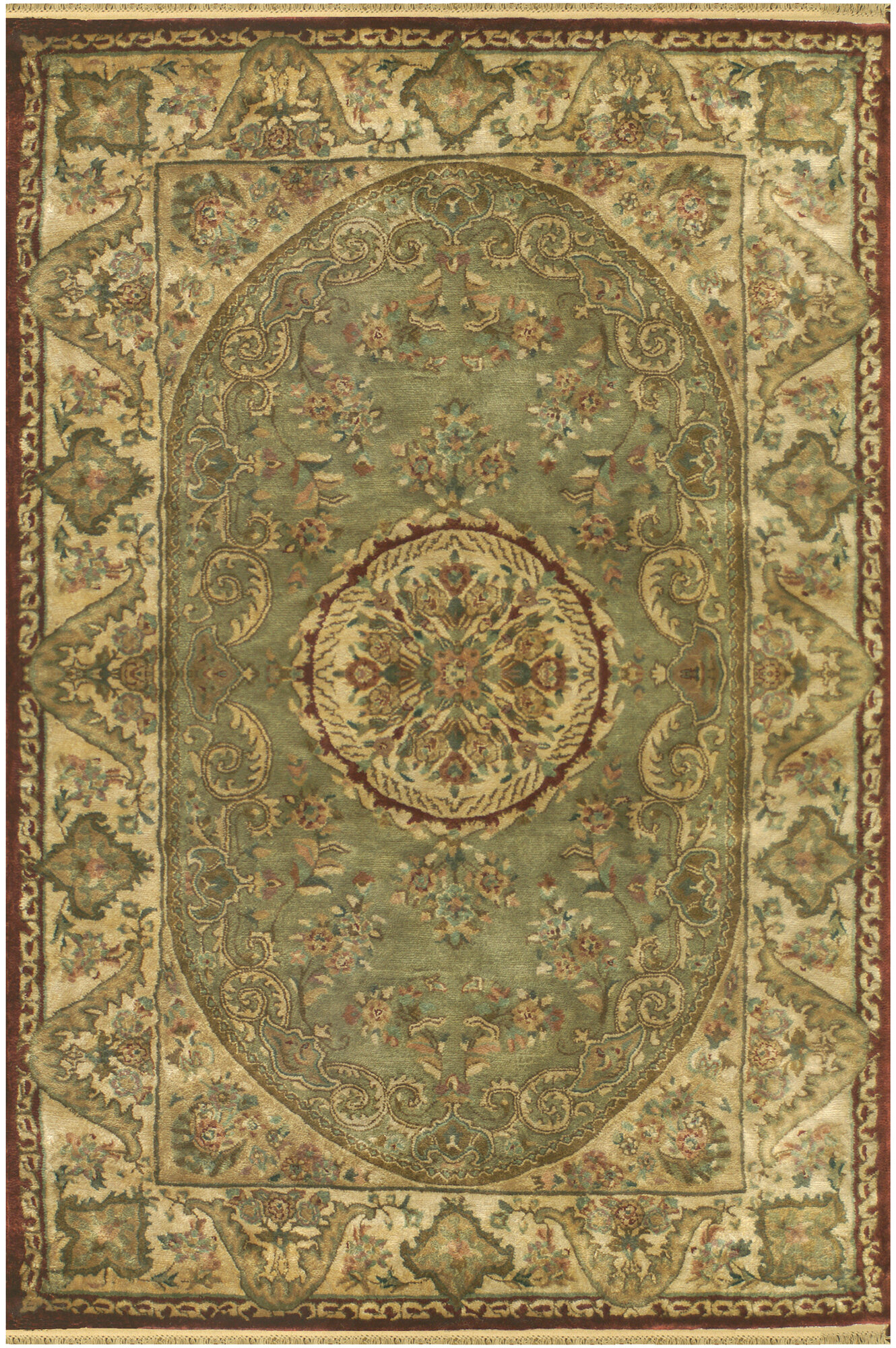 American Home Rug Co Savonnerie Hand Tufted Sage Green